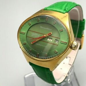 Vintage-Watch-CHAIKA-Green-Stadium-Automatic-Gold-Plated-Fish-Eye-Analog-USSR