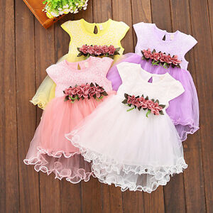 b47e6cd515c0d Details about US Toddler Kids Baby Girl Floral Dresses Party Princess  Wedding Tutu Dress Skirt