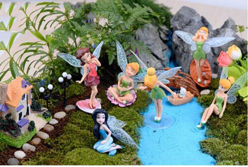 6X Flower Fairy Pixie Fly Wing Family Miniature Dollhouse Garden Ornament UK