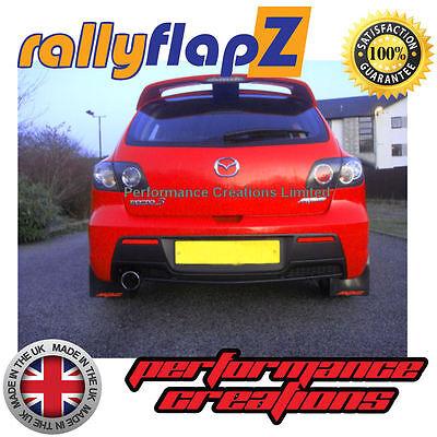 rallyflapZ to fit  MAZDA 3 MPS Mk2 Mud Flaps /& Fixings Black Logo White 4mm PVC