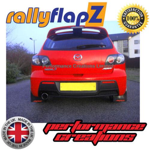 Rally Mudflaps MAZDA 3 MPS (07-09) Mk1 Mud Flaps Kit Black Logo Red - Kaylan PU