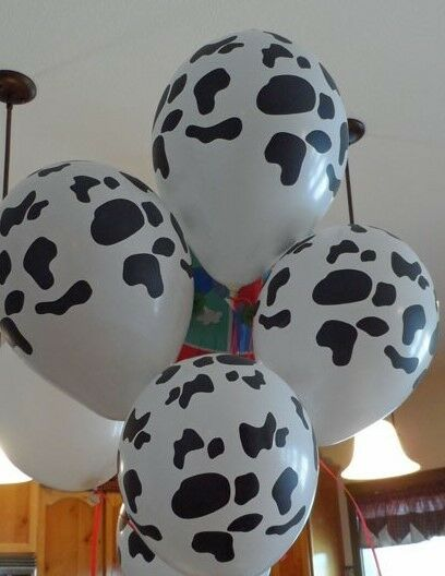 "Cow Print Latex Balloons 24 White Balloons with Black spots 11"" Farm Barnyard"