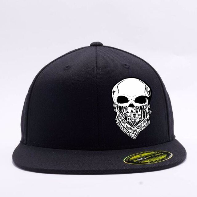6985e05c5 Mens Fueled Addiction 210 Fitted Black Flat Bill Brim Flex Fit Hat Cap S/M  L/XL