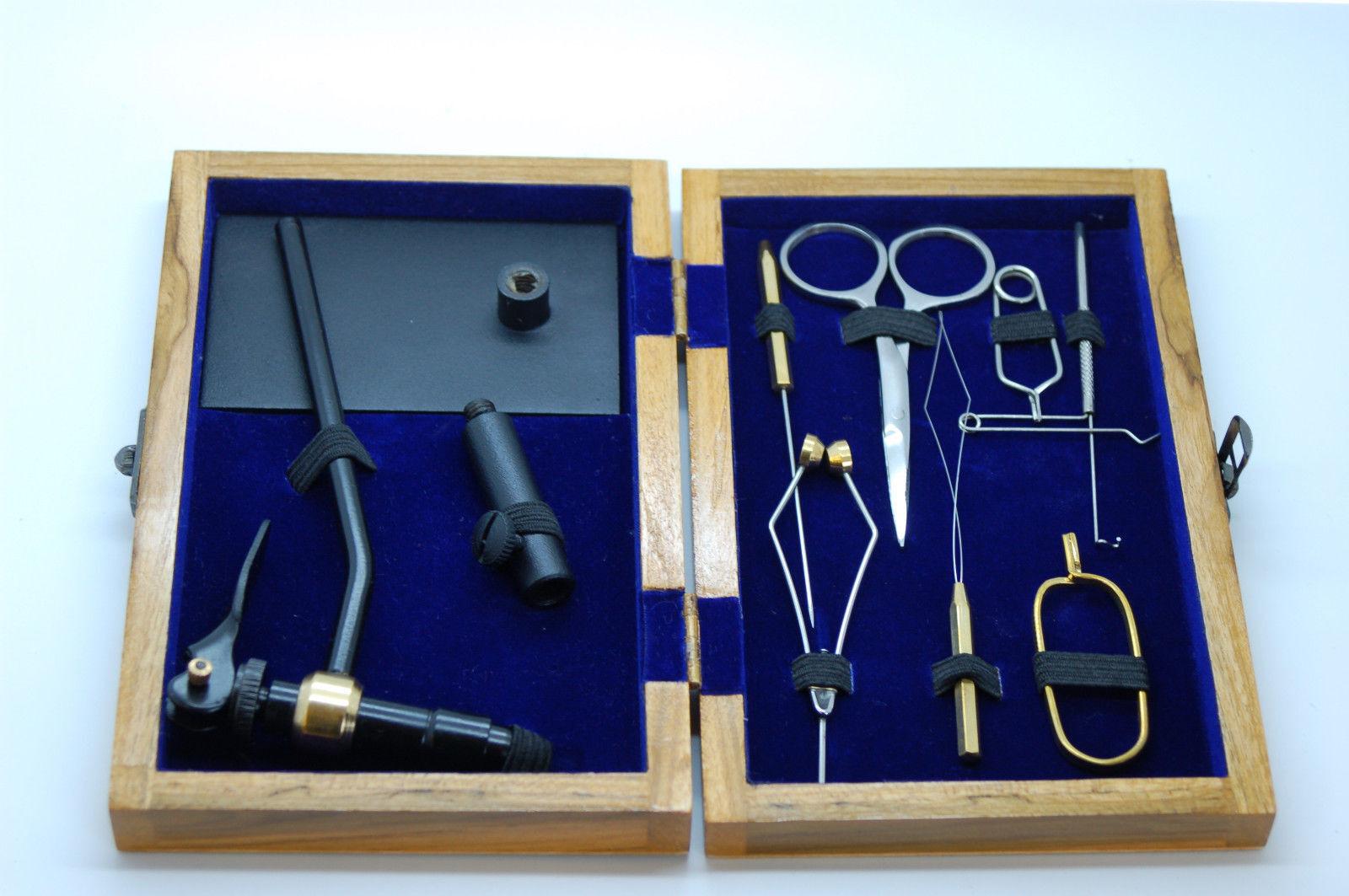 Kit de Montaje de Moscas con Tornillo, Enhebrador de Bobina en Caja de Madera