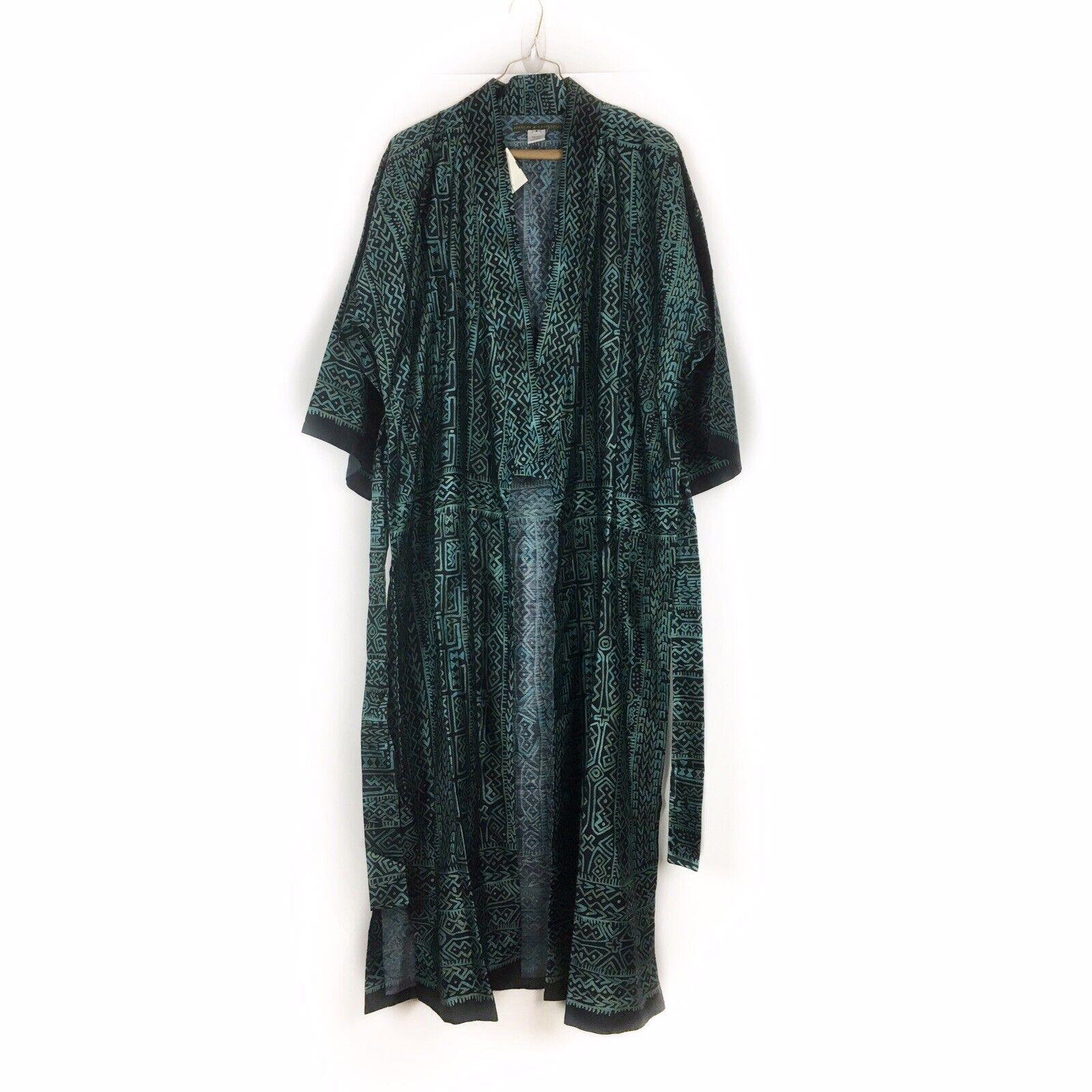 Peruvian Connection Sz S Long Kimono Duster Cardigan Maxi 100% Cotton Grün NEW