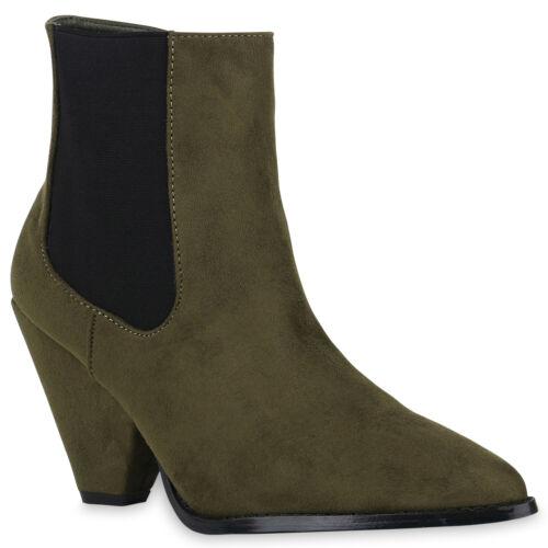 Damen Klassische Stiefeletten Chunky High Heels Spitze Boots 832110 Schuhe
