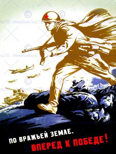 PROPAGANDA WAR WWII USSR RED ARMY FORWARD VICTORY RED ARMY ART POSTER CC6821