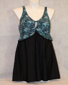 ELLOS-Swimsuits-for-All-Support-Bra-Swim-Dress-PLUS-HIDE-HIPS-Aqua-Black-NWT-18
