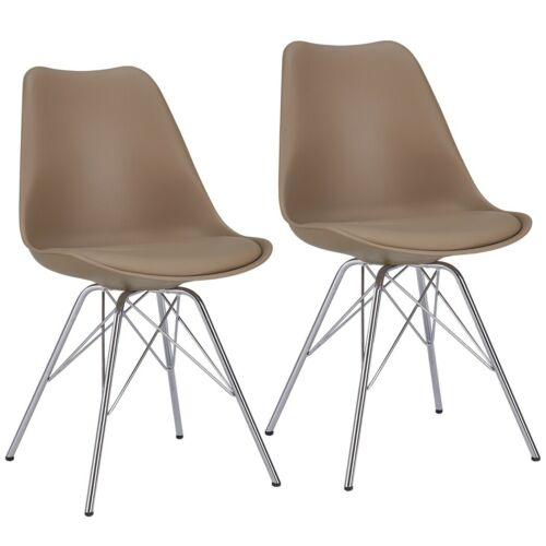 2er Set Dining Chair Cappuccino Chair Vintage Design Beige Plastic Metal