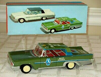 "Lovely Vintage Tin Friction Police Car Polizia Stradale-made In Italy-10.5"" Mibox"