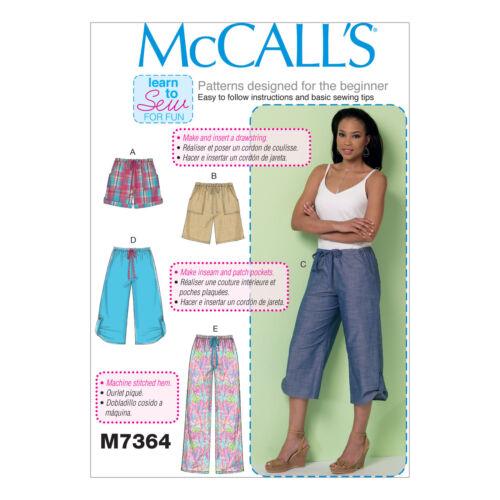 McCall/'s 7364 Easy sewing pattern pour rendre Pantalon Short cultures apprendre à coudre