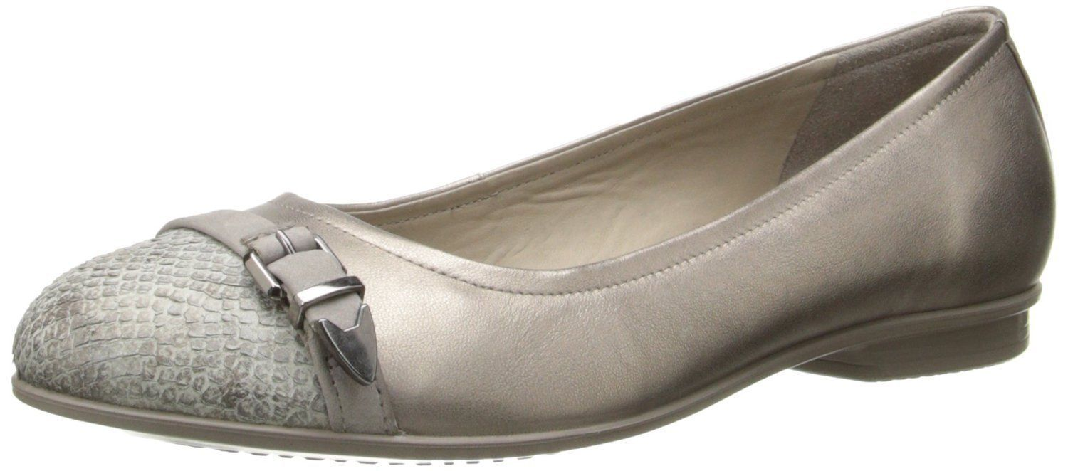 ECCO womens TOUCH BALLERNA Flat BUCKLE SlipOn SHOES Leather Moon Rock GREY 9-9.5