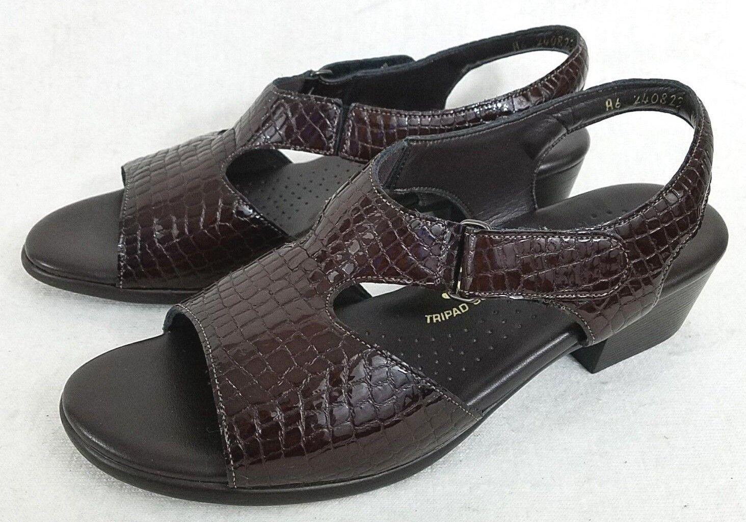 SAS Dark Brown  Suntimer  Tripad Comfort Faux Croc Sandals Women's US 8.5 Narrow