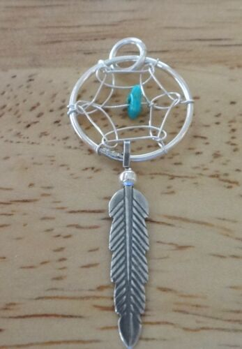 Sterling Silver 35x15mm feather Indian Dreamcatcher Turquoise Charme