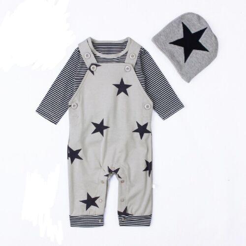 Baby 3-er Set Shirt, Latzhose, Mütze Gr.56/62 Kleidung Sternchen Baumwollset