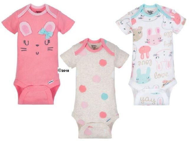 947fcca765d54 Gerber Baby Girl 3-Piece Organic Cotton Pink Bunnies Onesies Size Preemie