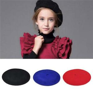 Fashion 100% Wool Children Girls Kids Felt French Beret Beanie Hat ... 2d2f89f25d5