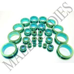 V015-Screw-on-fit-Green-Surgical-Steel-Flesh-Tunnels-Ear-Plugs-10G-1-034-Gauges