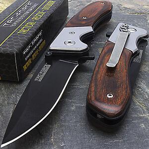 7-034-TAC-FORCE-SPRING-ASSISTED-WOOD-FOLDING-POCKET-KNIFE-Blade-Tactical-Open