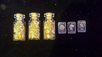#16 3 1gram silver bar and 3of my glass jars of gold leaf flake!
