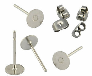100 SURGICAL STEEL STUDS 6mm pad earring findings & backs BUDGET RANGE Free Post