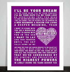 Savage Garden Truly Madly Deeply Music Song Lyric Word Art Print Poster Love Ebay