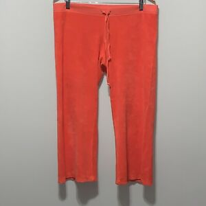 Juicy Couture Large Coral Velour Lightweight Cropped Wide Leg Pants Ebay