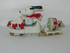 """SNOWMOBILING WITH SNOOPY"" LENOX PORCELAIN PEANUTS FIGURES #812892 - MIB"