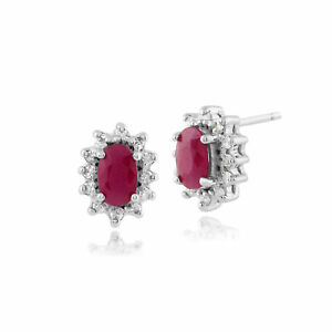 9ct-White-Gold-0-57ct-Natural-Ruby-amp-Diamond-Cluster-Stud-Earrings