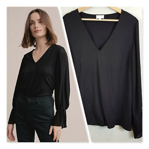 WITCHERY-Womens-Black-Pleated-Sleeve-Ponte-Top-Size-L-or-AU-14-US-10