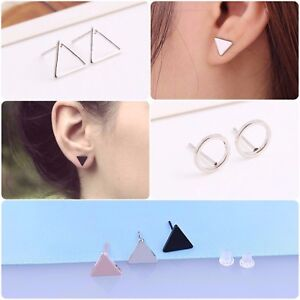 Image Is Loading Triangle Earrings Hollow Circle Ear Studs Pair Geometric