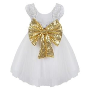 a7c359968 Girls White Gold Sequin Bow Princess Style Flower Girl Party ...