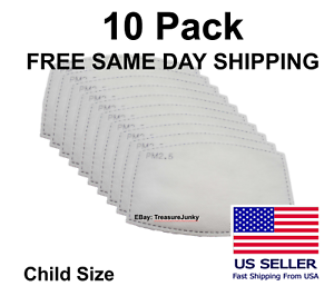 10 Pack Child PM2.5 5 Layer Carbon Face Super Fresh Air Mask Filter Replacements
