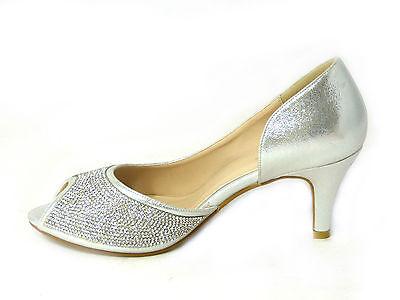 Damen Hochzeit Schuhe Mid Ferse Strass Braut Peeptoe Sandalen Größe