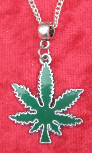 """18/"""" o 24/"""" Pulgadas Cadena Collar Y Dije Colgante Marihuana Cannabis Marihuana Hierba Dope"""