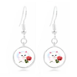 Chaton avec Rose Photo Art Glass Cabochon 16 mm Charme Boucle d/'oreille Boucle d/'oreille crochets