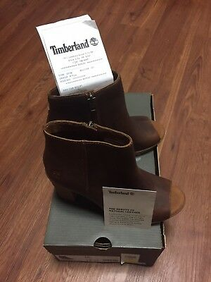 Timberland Women's Tillston Peep Toe Brown Leather Ankle Boots A1IE9 Size 7.5 191479284142 | eBay