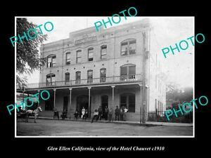OLD-LARGE-HISTORIC-PHOTO-OF-GLEN-ELLEN-CALIFORNIA-VIEW-OF-HOTEL-CHAUVET-c1910