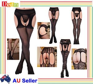 Women-Lady-LINGERIE-Open-Crotch-Fishnet-Stockings-Pantyhose-CROTCHLESS-Tights