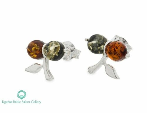 NATURAL BALTIC AMBER STERLING SILVER 925 Earrings Stud Certified /& BOX