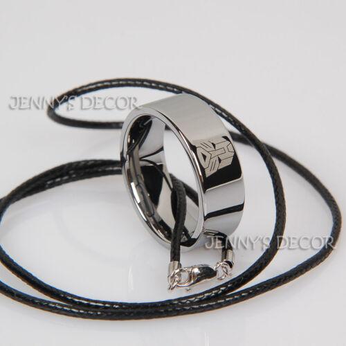 Bijoux carbure de tungstène anneau Transformers symbole Autobots Homme Bande avec corde