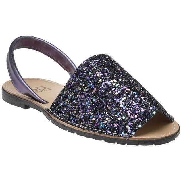 New Womens SOLE Metallic Purple Toucan Leather Sandals Flats Slip On