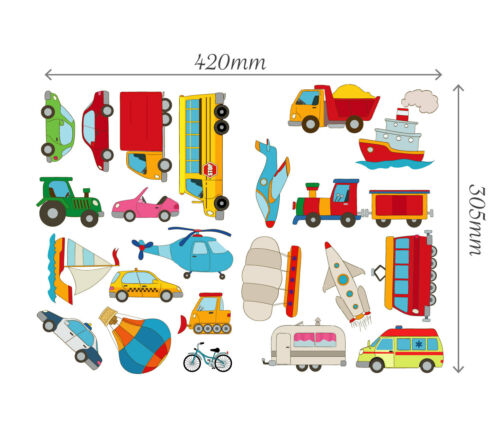Cars Transport Learning Wall Stickers Kids Decals Cartoon Bus Plane Art Games