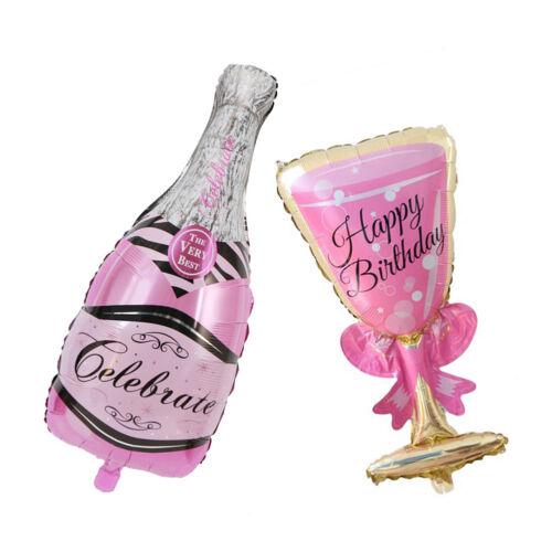EG/_ LC/_ Champagne Bottle Glass Foil Balloon Happy Birthday Wedding Party Decor G