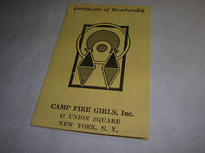 Antique 1939 Certificate of Membership CAMP FIRE GIRLS NEW YORK Vintage x