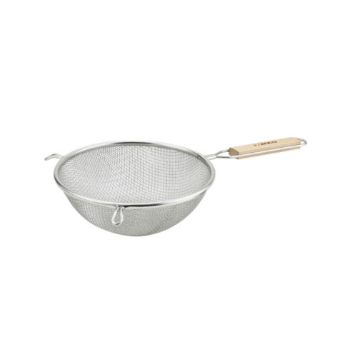 Winco MS3A-8D 8-Inch Double Fine Mesh Strainer with Flat Wooden Handle