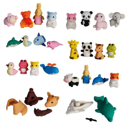 4x2 cm 4 Stück im Beutel Radiergummi Set Tiere 4x Puzzle Radierer ca