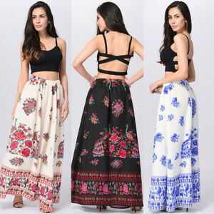 79eff3e288 Women Boho Maxi Skirt Beach Floral Holiday Summer High Waist Long ...