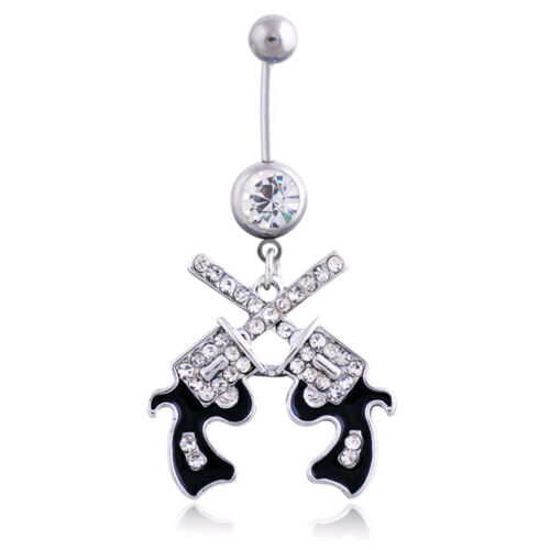 Cowgirl revolver Pistol Gun Dangle Belly Button Navel Ring Body Jewelry tlus