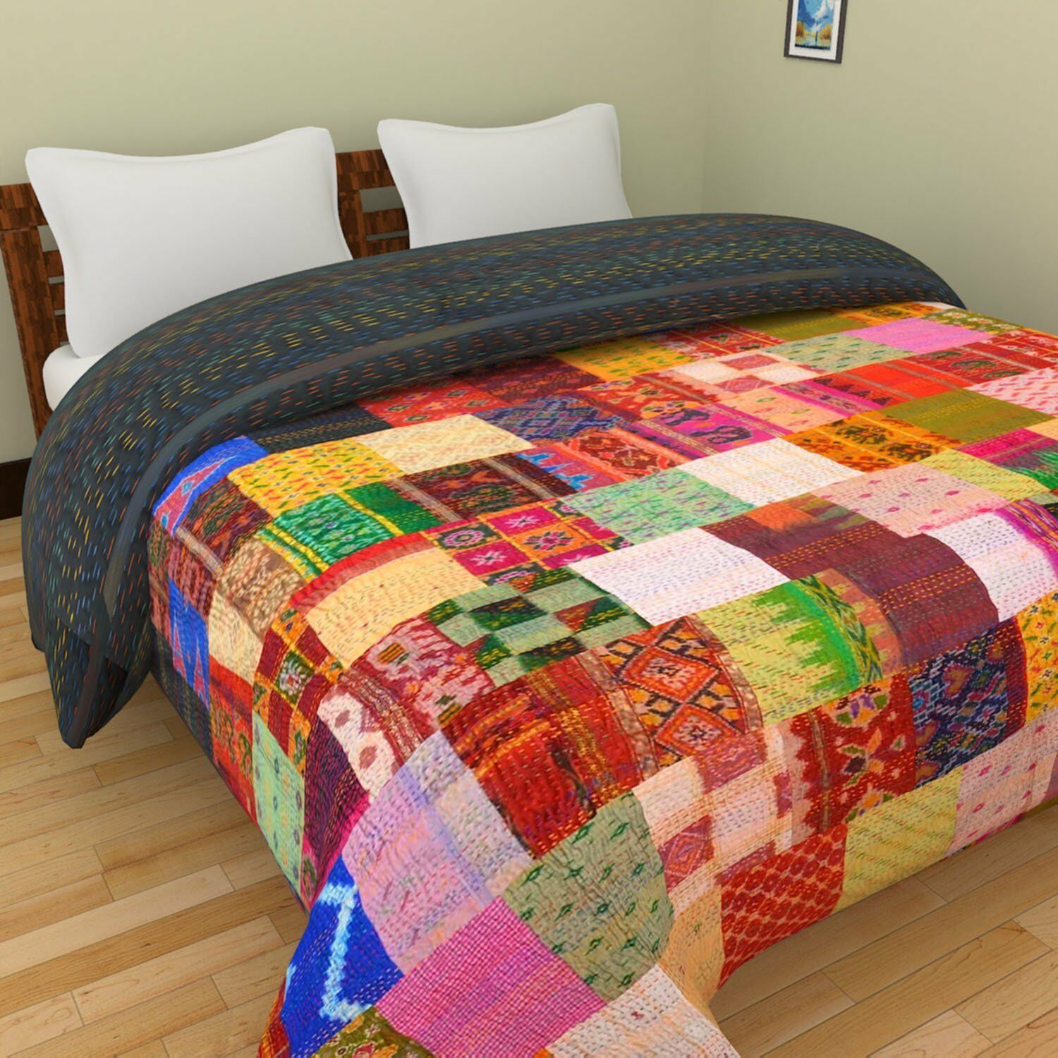 Indian Blanket Ikat(Patola)Silk Handmade Kantha Quilt,Bed Spread Patch King Size